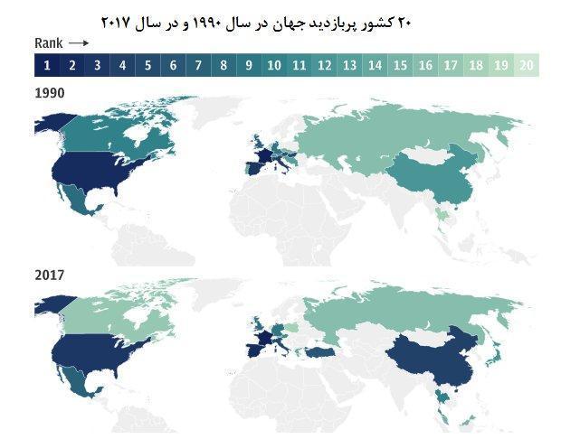 نقشه گردشگری دنیا در 28 سال اخیر، ایران در رتبه 7 دنیای