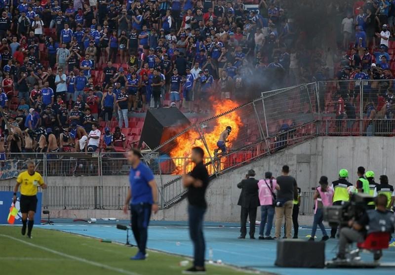 هواداران فوتبال شیلی ورزشگاه ملی کشورشان را به آتش کشیدند