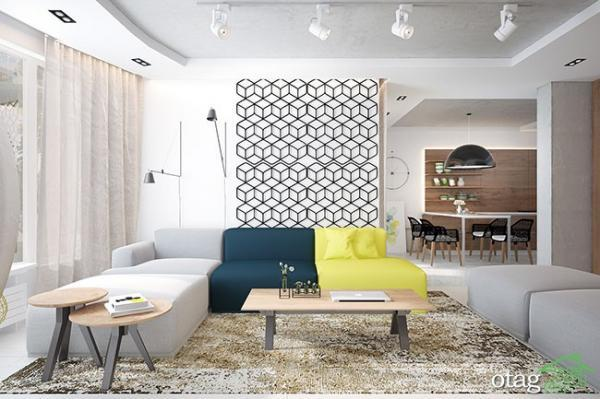 دکوراسیون رنگی منزل با چیدمان بسیار شیک مناسب آپارتمان